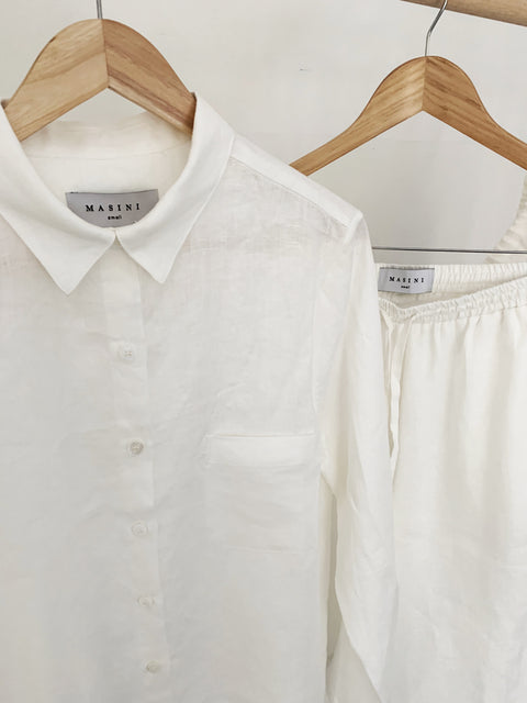Off White Linen Long Pyjama Set