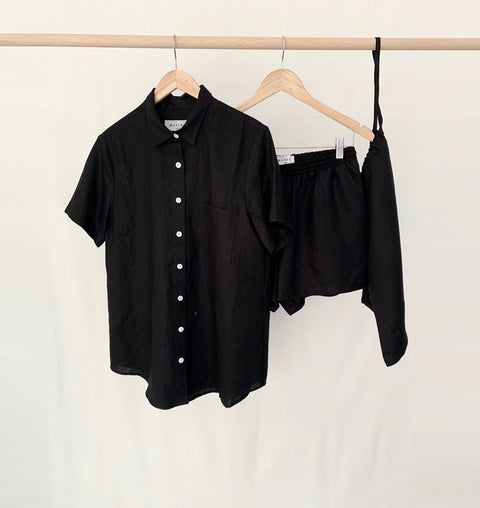 Black Linen Short Pyjama Set