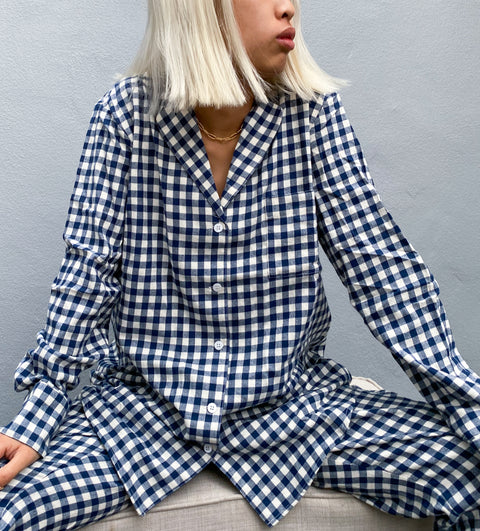 Flannel Navy Gingham Pyjama Set