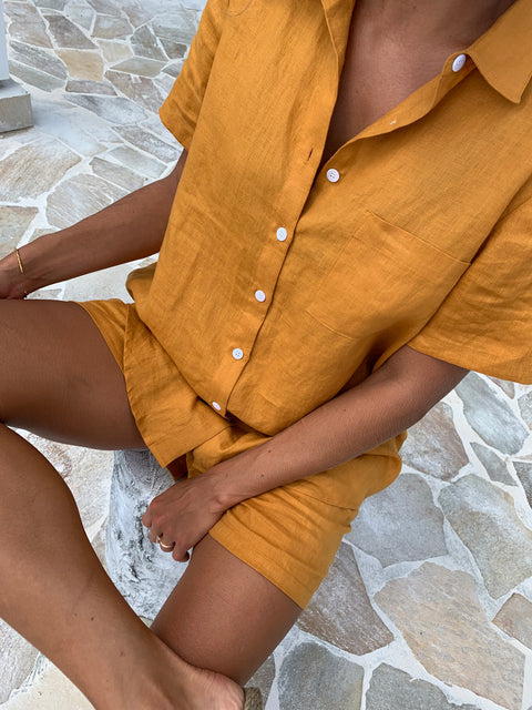 Mustard Linen Short Pyjama Set - 3 left!