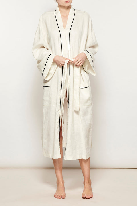 Ivory w/ Black Piping Linen Robe