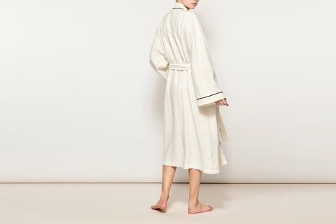 Ivory w/ Black Piping Linen Robe UNISEX