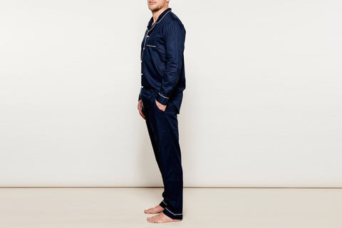 Men's Navy w/ White Bind Cotton Pyjama Set