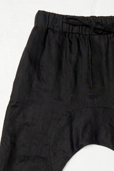 Black Linen Low Crotch Pants