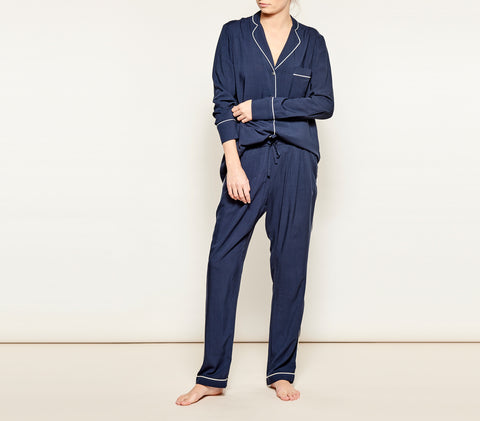 Navy w/ White Piping Pyjama Set