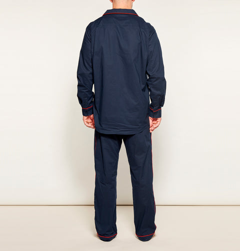 Men's Navy w/ Red Piping Pyjama Set