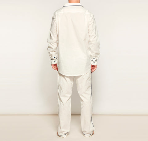 Men's White w/ Navy Bind Pyjama Set