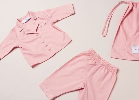 Kid's Cotton Pink w/ White Piping Set