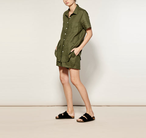 Olive Linen Short Pyjama Set PRE ORDER FOR END AUGUST