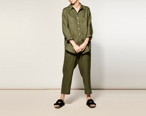Olive Linen Long Pyjama Set - 1 left!