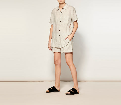Natural Stripe Linen Short Pyjama Set