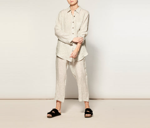 Natural Stripe Linen Long Pyjama Set