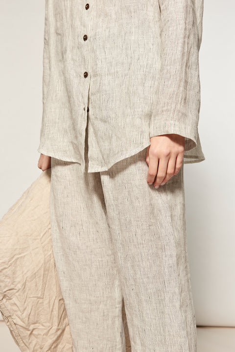 Natural Stripe Linen Long Pyjama Set - 6 left!
