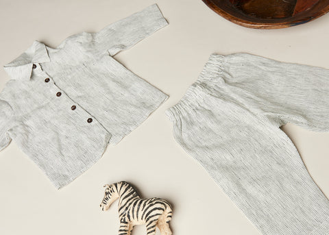 Kid's Natural Stripe Linen Pyjama Set