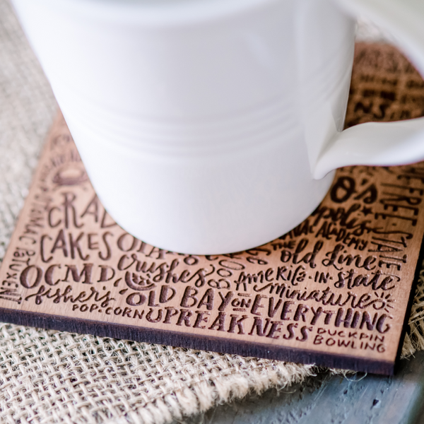 Maryland Words - Wooden Coasters