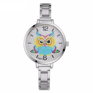 Luxury Stainless Steel Owl Design Wrist Watch for Women - Owl Gifts Shop