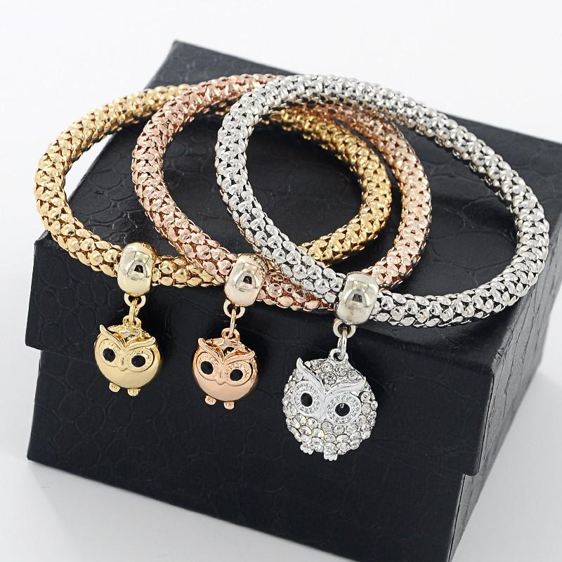 3 Pieces Set Crystal Bead Bracelet for Women Decorated with Crystal Owl Charm - Owl Gifts Shop
