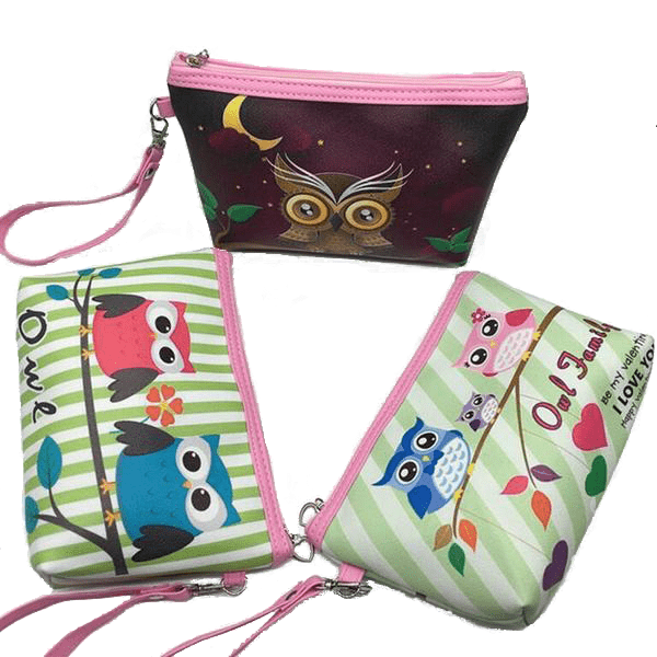 Cosmetic Bag with Printed Owl Design for Her - Owl Gifts Shop