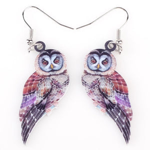 Long Drop Acrylic Earrings Owl Design for Women - Owl Gifts Shop