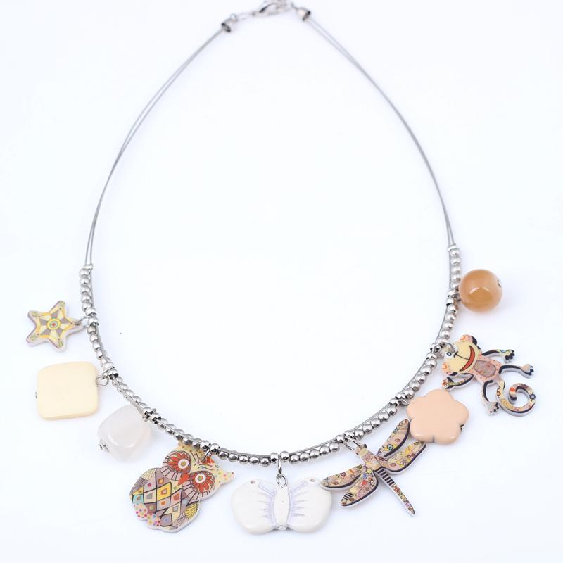 Owl and Monkey Spring Style Stainless Steel Necklace for Girls - Owl Gifts Shop