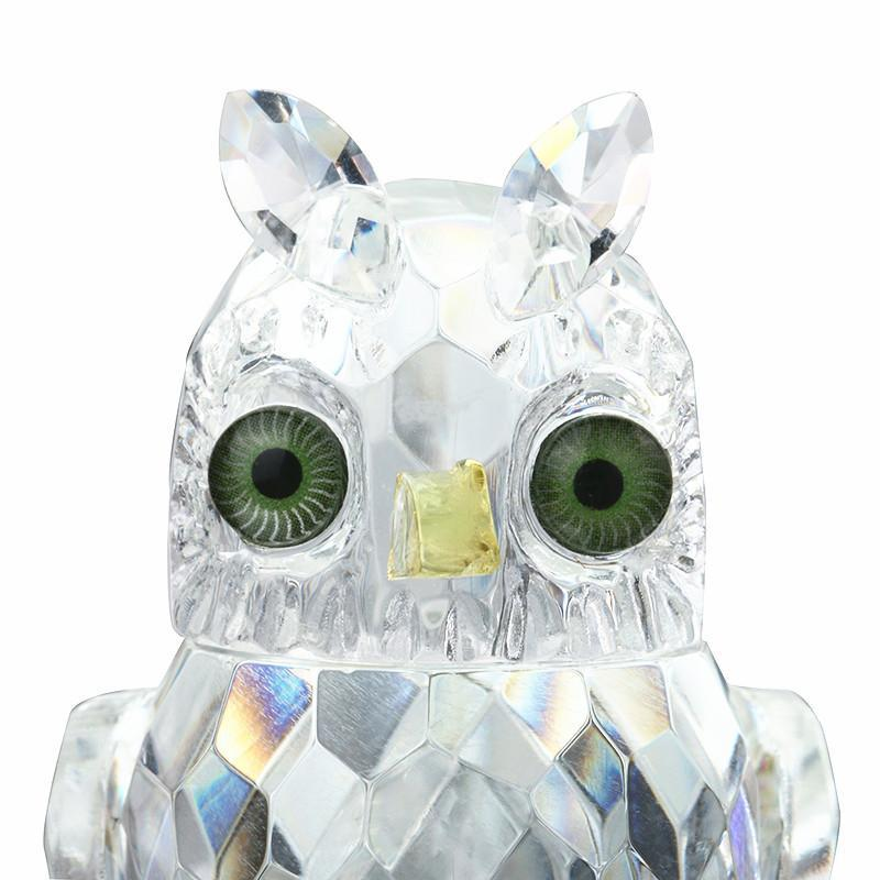 Clear Glass Crystal Owl Figurines Ornament, Paperweight, Souvenir