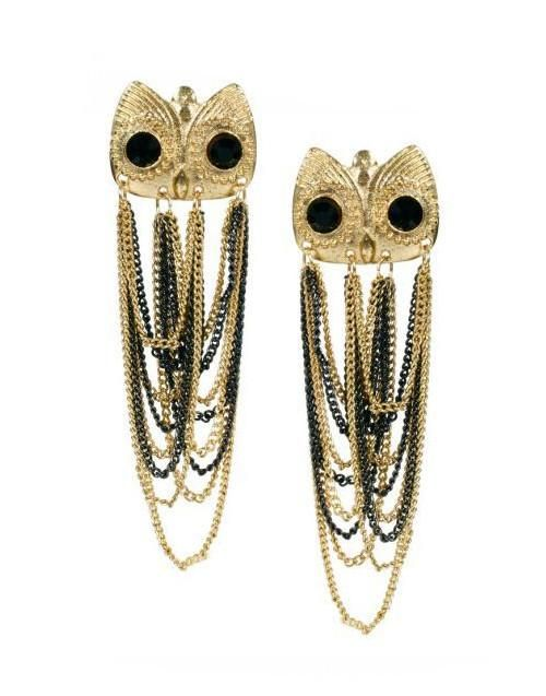 Gold and Black Owl Design Chain Tassel Drop Earrings for women - Owl Gifts Shop