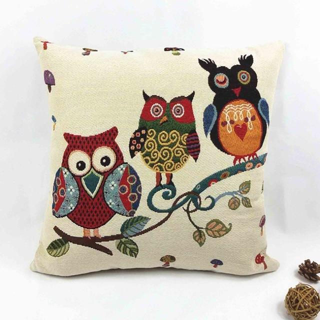 Rural Owl Cushion Pillow Cover - Owl Gifts Shop