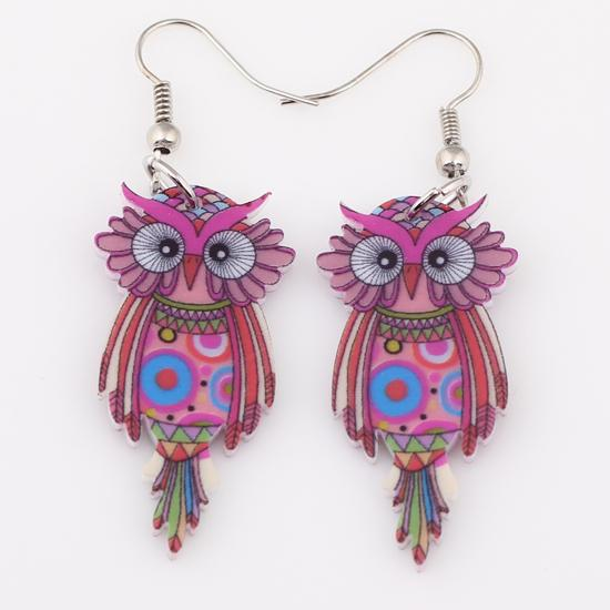 Drop Owl Earrings Acrylic Design for Women - Owl Gifts Shop