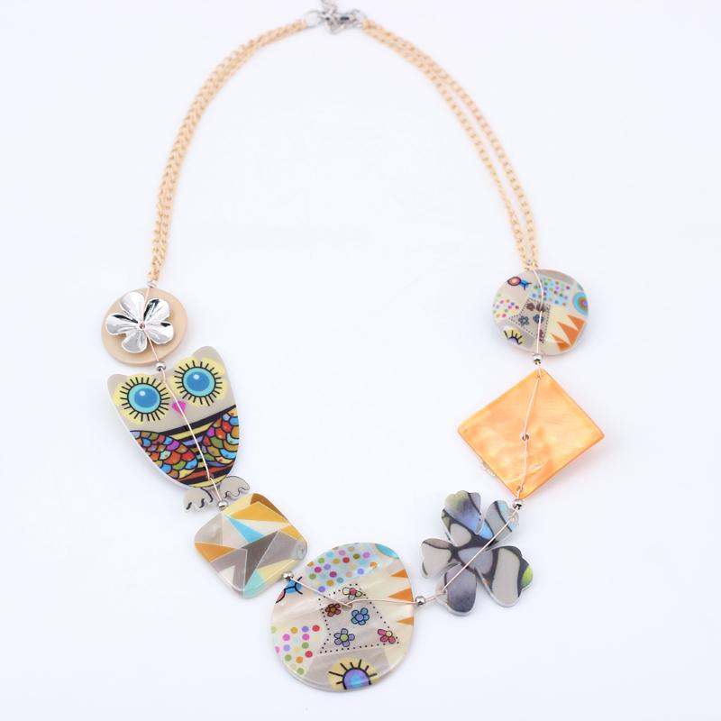 Spring Style Lovely Owl Acrylic Chain Necklace - Owl Gifts Shop