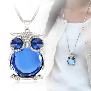 Owl Rhinestone Pendant Long Chain Necklace - Owl Gifts Shop