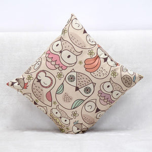 Owl Printed Decorative Linen Home Cushion with Hidden Zipper Closure - Owl Gifts Shop