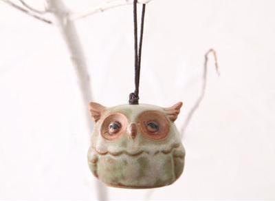 Cute Little Ceramic Owls Hanging Wind Chimes