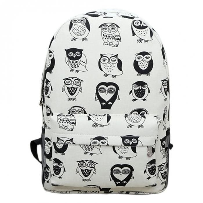 Black & White Owl Printed Canvas Backpack