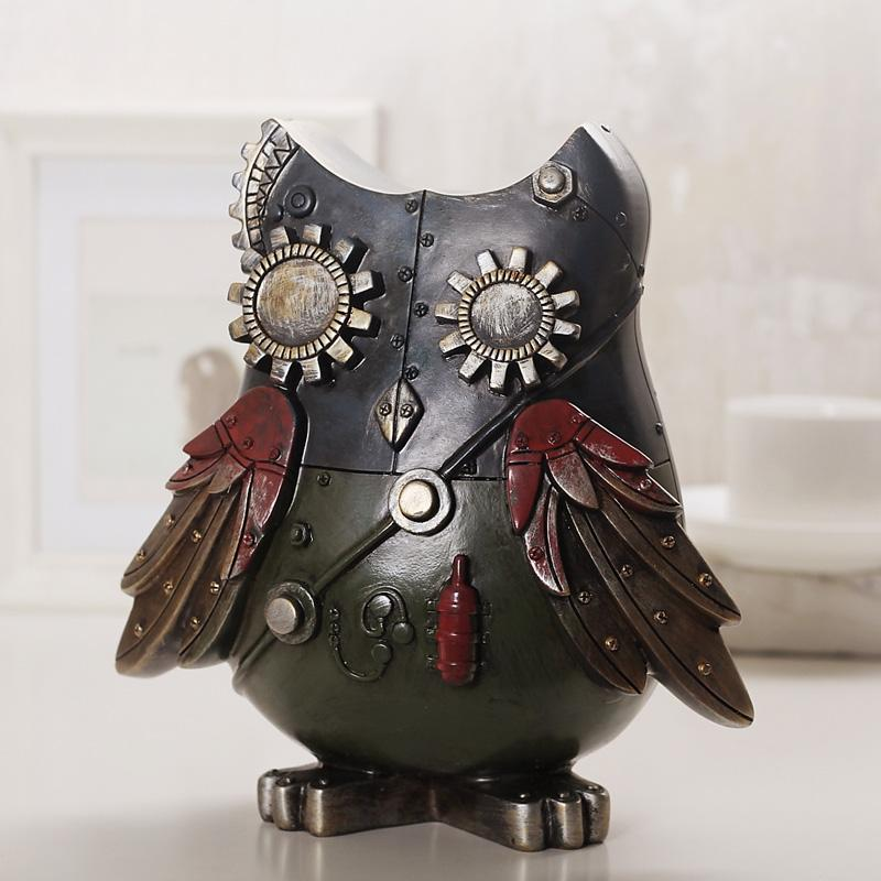 Industrial Style Resin Owl Figurine - Owl Gifts Shop