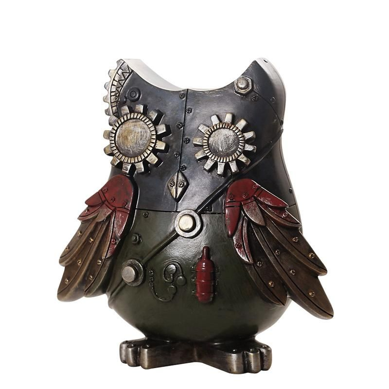 Industrial Style Resin Owl Figurine