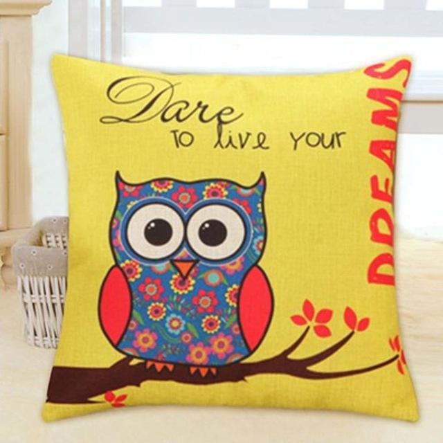 Lovely Owl Cushion Cover Polyester&Linen - Owl Gifts Shop