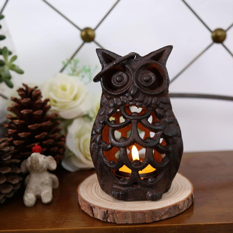 Retro Cast Iron Owl Figurine Candle Holder - Owl Gifts Shop