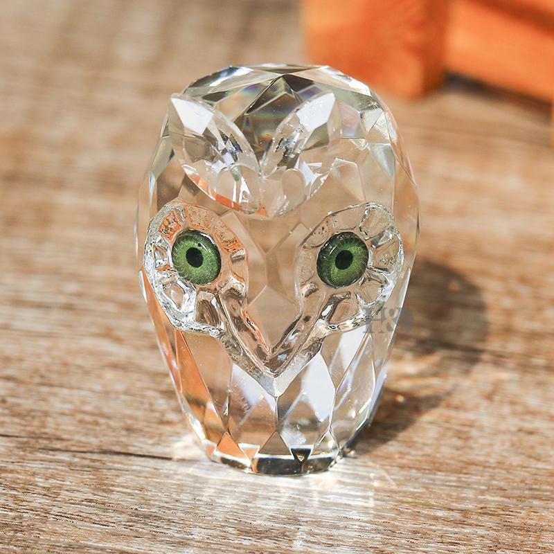 Hand Made Crystal Crafts, Clear Crystal Glass Figure Owl - Owl Gifts Shop