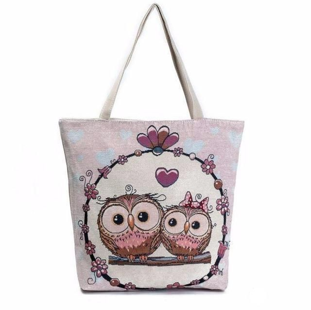 Canvas Shoulder Bag Owl Printed Design with Large Capacity - Owl Gifts Shop