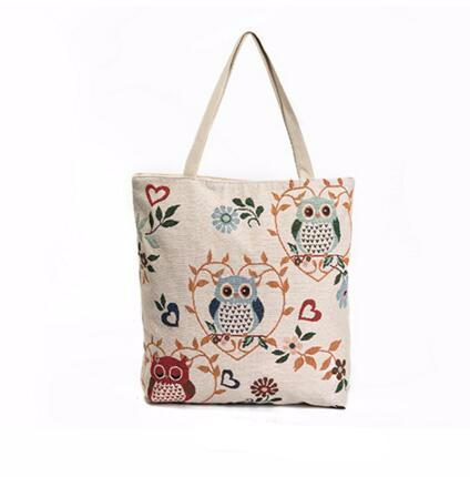 Canvas Shoulder Bag Owl Printed Design with Large Capacity