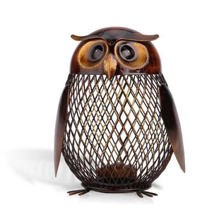 Owl Shaped Metal Figurine Piggy Bank Home Decor - Owl Gifts Shop