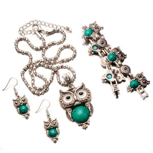 Vintage Owl Set Pendant Necklace and Earrings for Women - Owl Gifts Shop