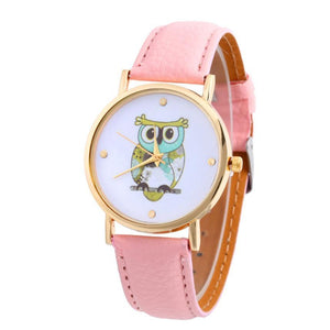 Analog Wrist Watch with Owl design and Leather Band - Owl Gifts Shop