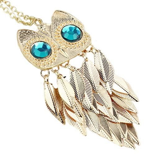 Stylish Gold Feather Owl Pendant Necklace - Owl Gifts Shop