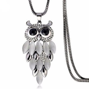 Lovely Owl Rhinestone Pendant with Chain Necklace for Women - Owl Gifts Shop