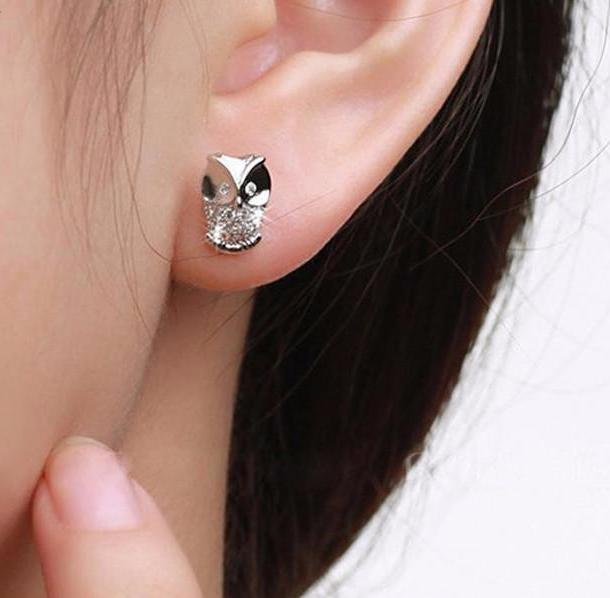 Owl Shaped Crystal Stud Earrings - Owl Gifts Shop
