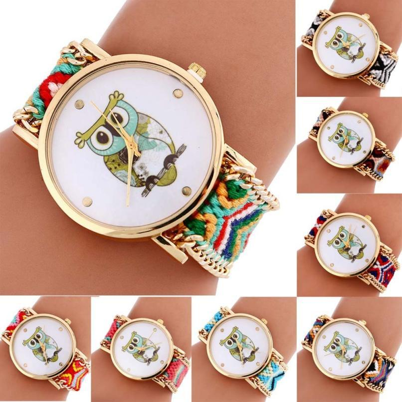 Shock Resistant Owl Watch with Knitted Band for Girls and Women - Owl Gifts Shop