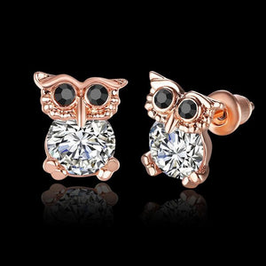 Vintage Style Owl Rhinestone Stud Earrings - Owl Gifts Shop