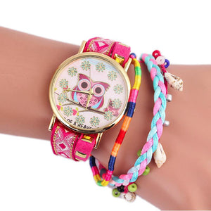 Canvas Bracelet Watch For Girls with Owl Design - Owl Gifts Shop