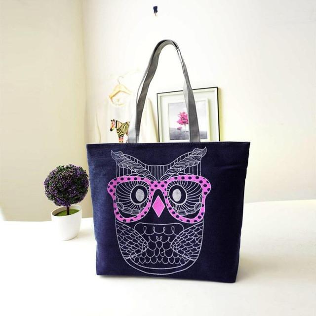 Canvas Shoulder Bag with Owl Printed Design - Owl Gifts Shop